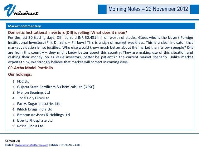 V     Valuehunt                                                                 Morning Notes – 22 November 2012  Market C...
