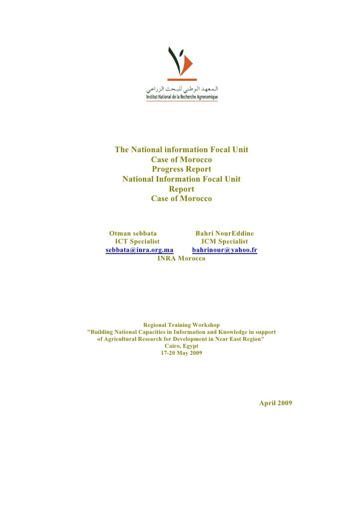 The National information Focal Unit                    Case of Morocco                    Progress Report            Natio...