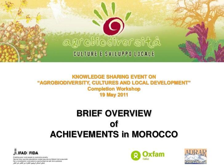 Agro biodiversity - Brief Overview of Achievements in Morocco