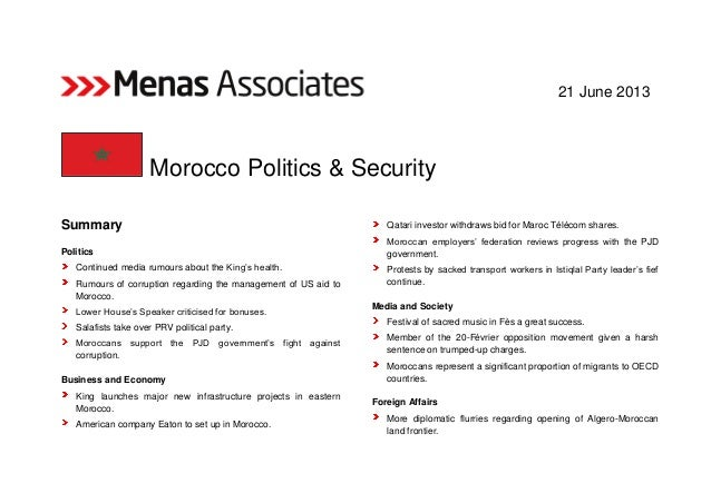 """21 June 2013 Morocco Politics & Security Summary Politics Continued media rumours about the King""""s health. Rumours of corr..."""