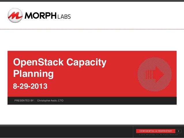 © 2013 Morphlabs Inc. All Rights Reserved PRESENTED BY : Christopher Aedo, CTO CONFIDENTIAL & PROPRIE TARY OpenStack Capac...