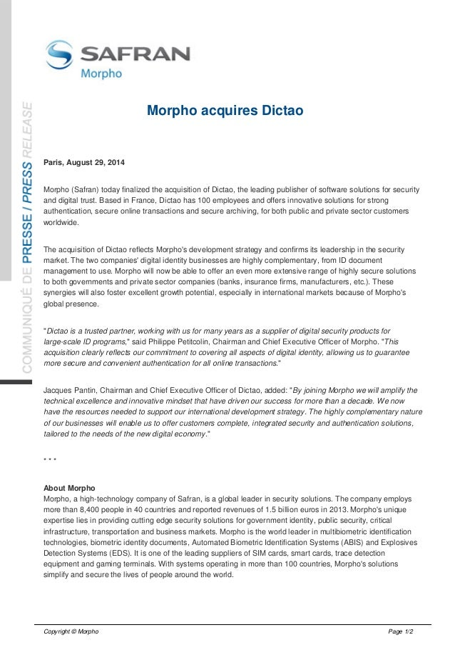 Morpho acquires Dictao  Paris, August 29, 2014  Morpho (Safran) today finalized the acquisition of Dictao, the leading pub...