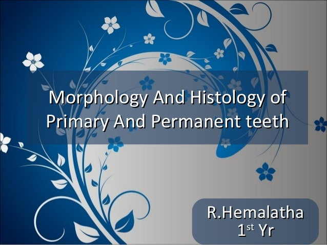 Morphology And Histology of Primary And Permanent teeth  R.Hemalatha st 1 Yr