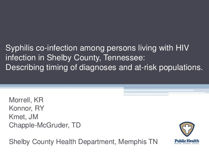 Syphilis co-infection among persons living with HIV infection in Shelby County, Tennessee: Describing timing of diagnoses and at-risk populations.