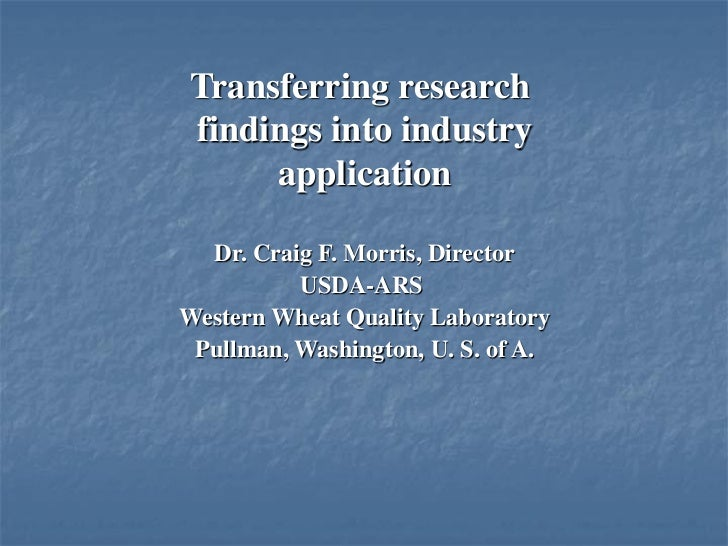 Transferring research findings into industry application