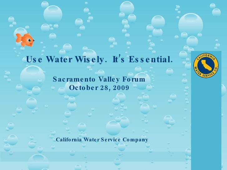 Use Water Wisely.  It's Essential. Sacramento Valley Forum October 28, 2009 California Water Service Company
