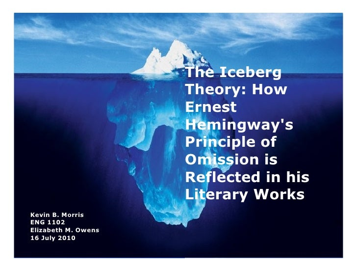 the iceberg theory Iceberg theory is the name of a writing technique coined by ernest hemingway,  in which the author wrote in a journalistic fashion and left most of the deeper.