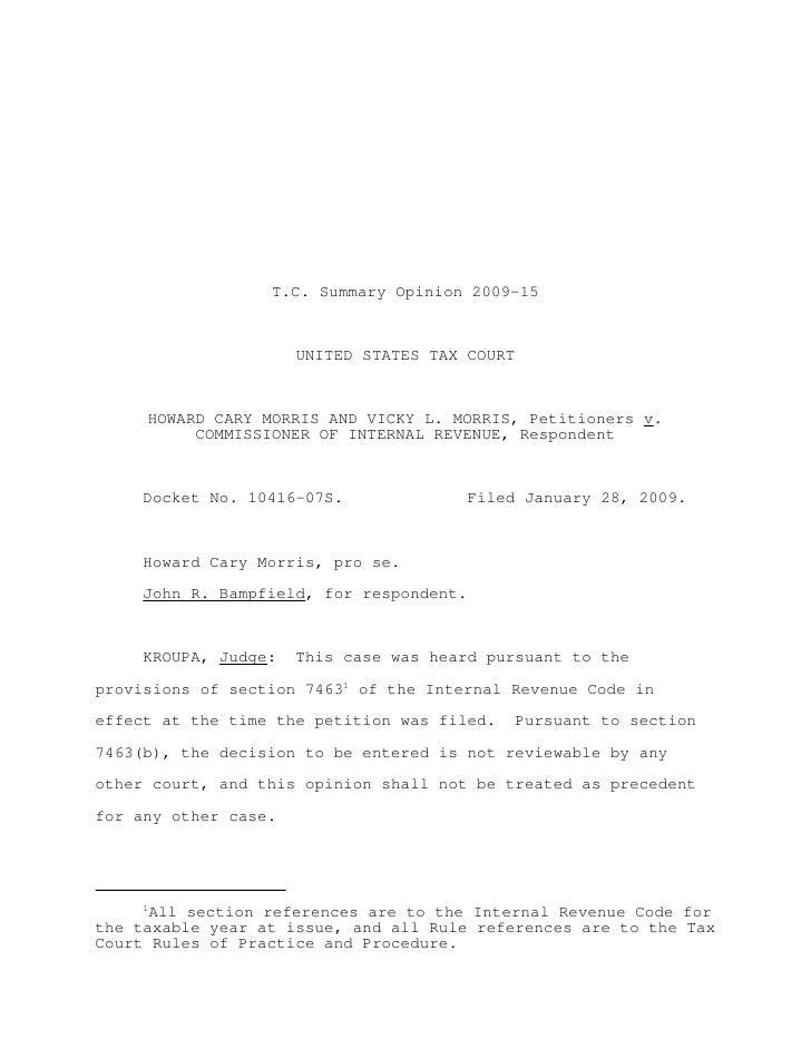 Morris v. commissioner