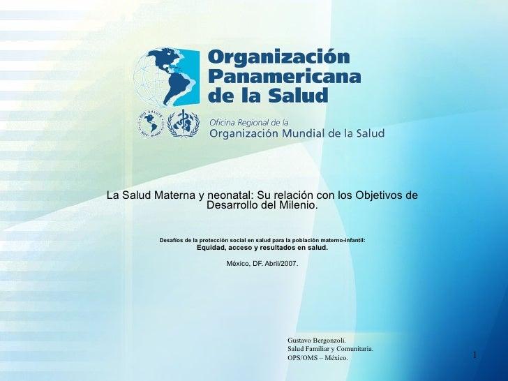 La Salud Materna y neonatal: Su relación con los Objetivos de Desarrollo del Milenio. Desafíos de la protección social en ...
