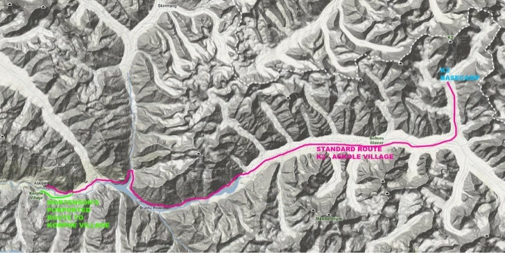 Greg Mortenson's Route from K2 to Askole, 1993.