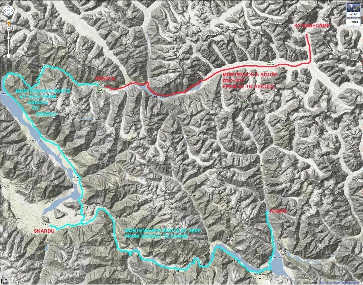 Greg Mortenson's Route from K2 to Khane.