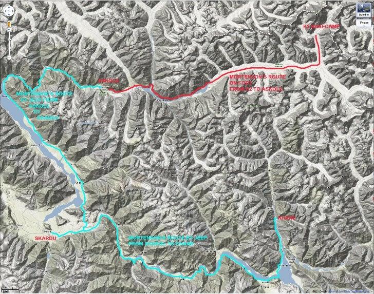 Greg Mortenson's Route from K2 to Khane.