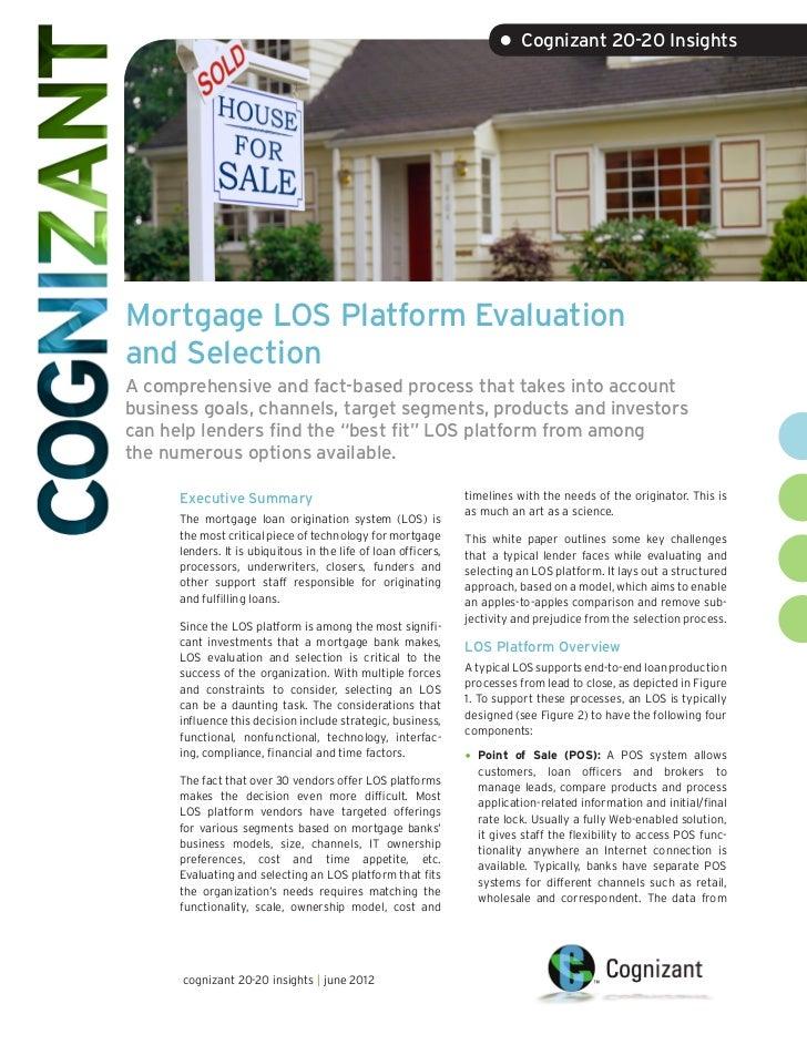 Mortgage LOS Platform Evaluation and Selection