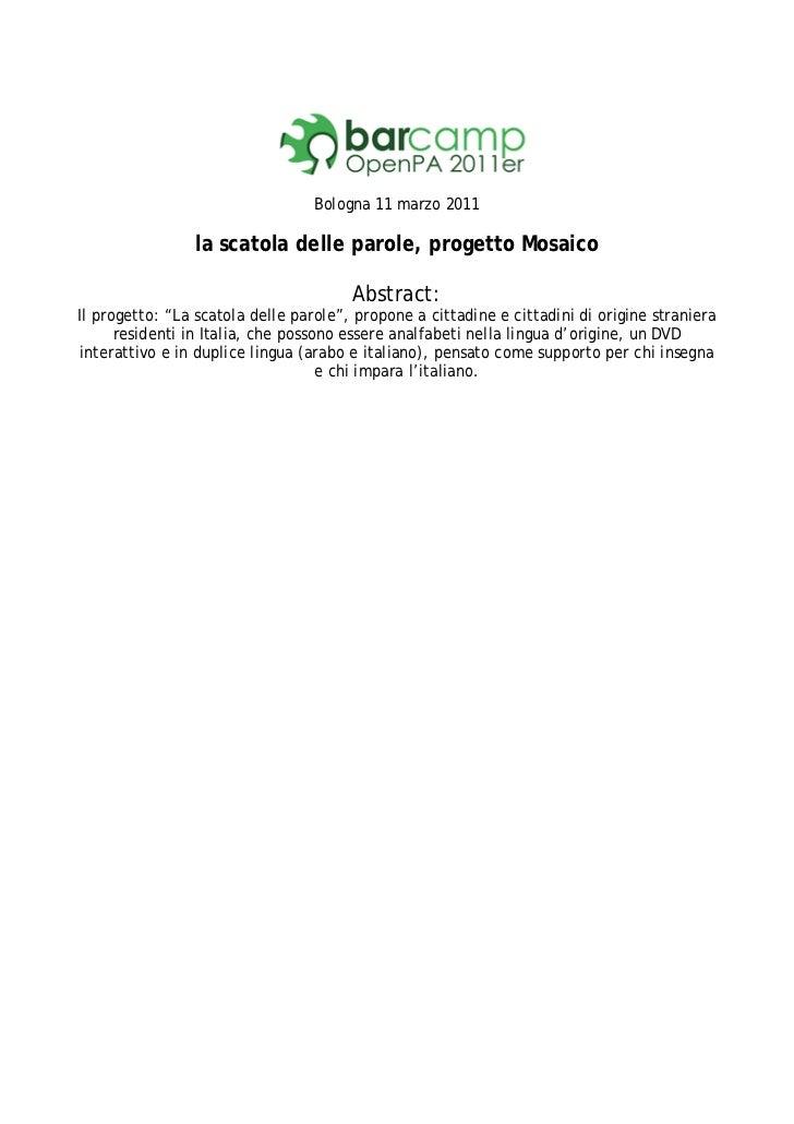 Bologna 11 marzo 2011                la scatola delle parole, progetto Mosaico                                       Abstr...