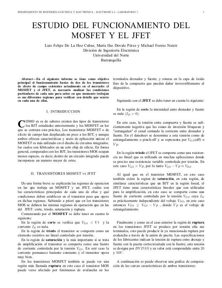 DEPARTAMENTO DE INGENIERÍA ELÉCTRICA Y ELECTRÓNICA - ELECTRONICA I - LABORATORIO 7.                                       ...