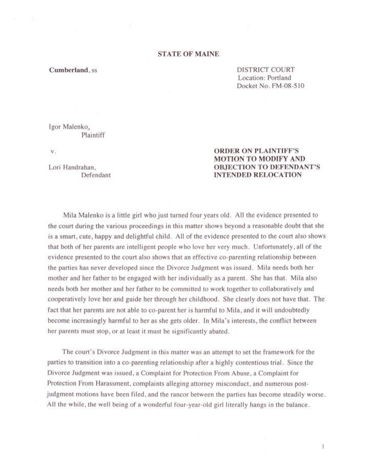 Moskowitz february 2011 decision