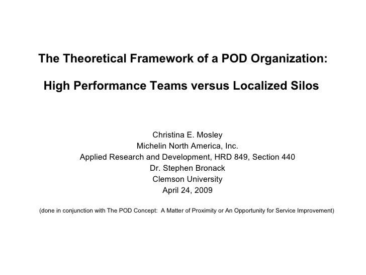 The Theoretical Framework of a POD Organization:   High Performance Teams versus Localized Silos  Christina E. Mosley Mich...