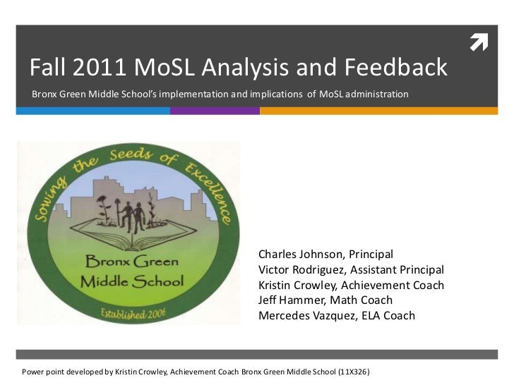  Fall 2011 MoSL Analysis and Feedback  Bronx Green Middle School's implementation and implications of MoSL administration...