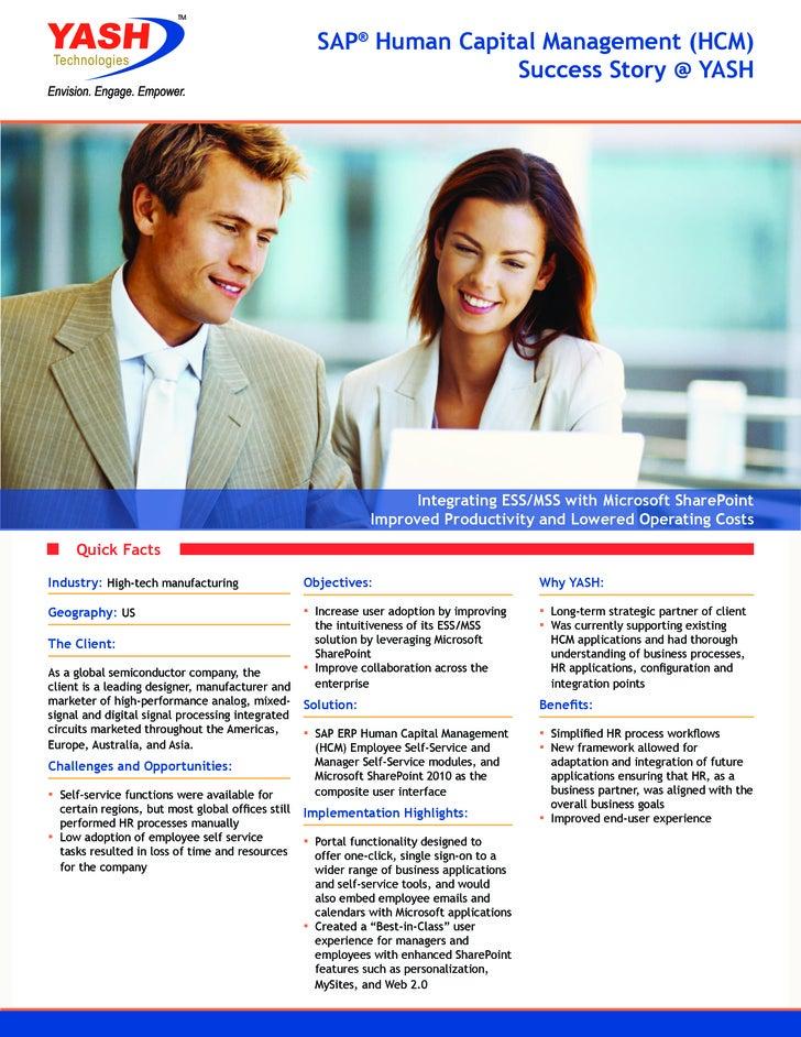 SAP® Human Capital Management (HCM)                                                                      Success Story @ Y...