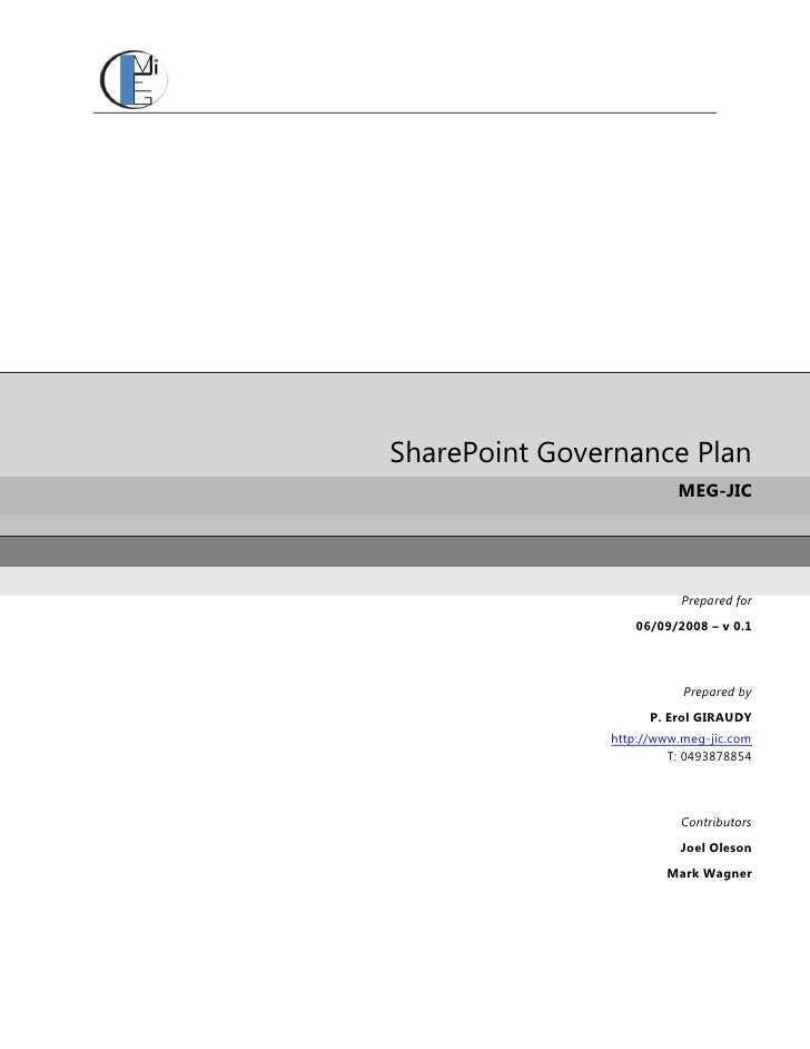 SharePoint Governance Plan                          MEG-JIC                               Prepared for                   0...