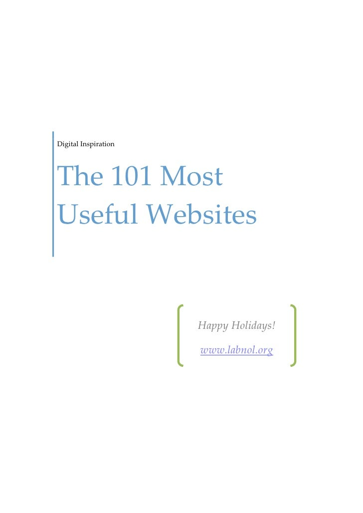 Digital InspirationThe 101 MostUseful Websites                      Happy Holidays!                      www.labnol.org