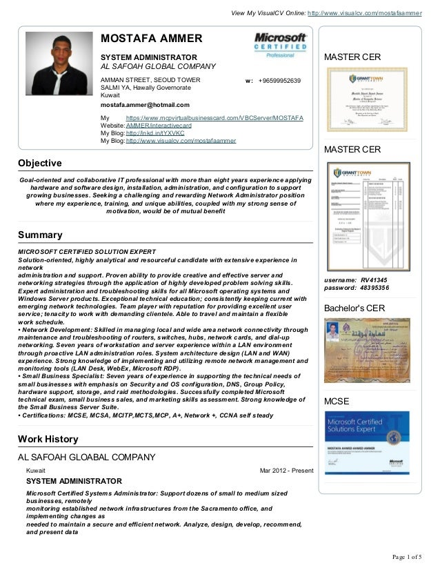 Microsoft Certified Professional Resume Creator Resume
