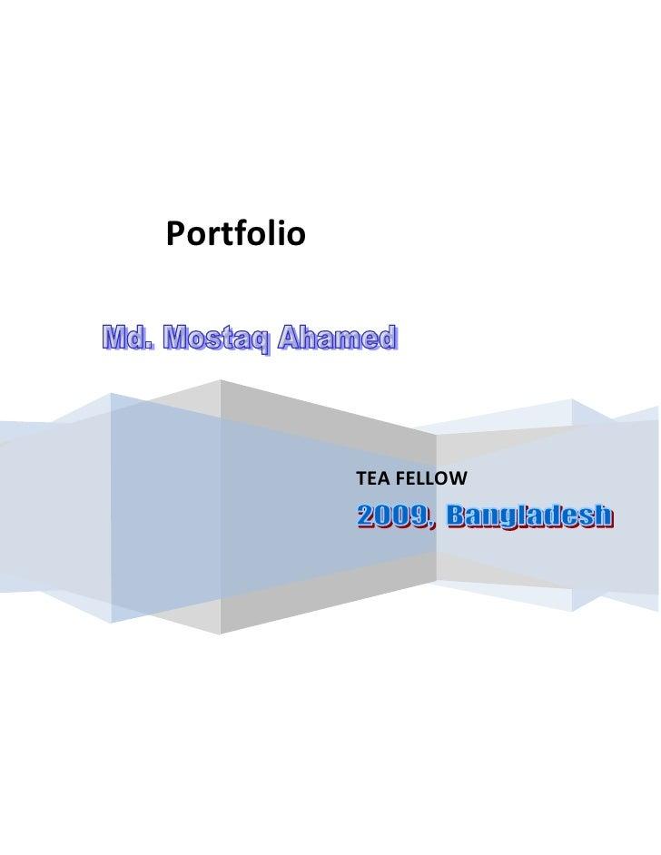 TEA FELLOW                                                    Portfolio<br />Contents:<br /><ul><li>Objective of portfolio