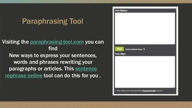 Website that paraphrases sentences for you