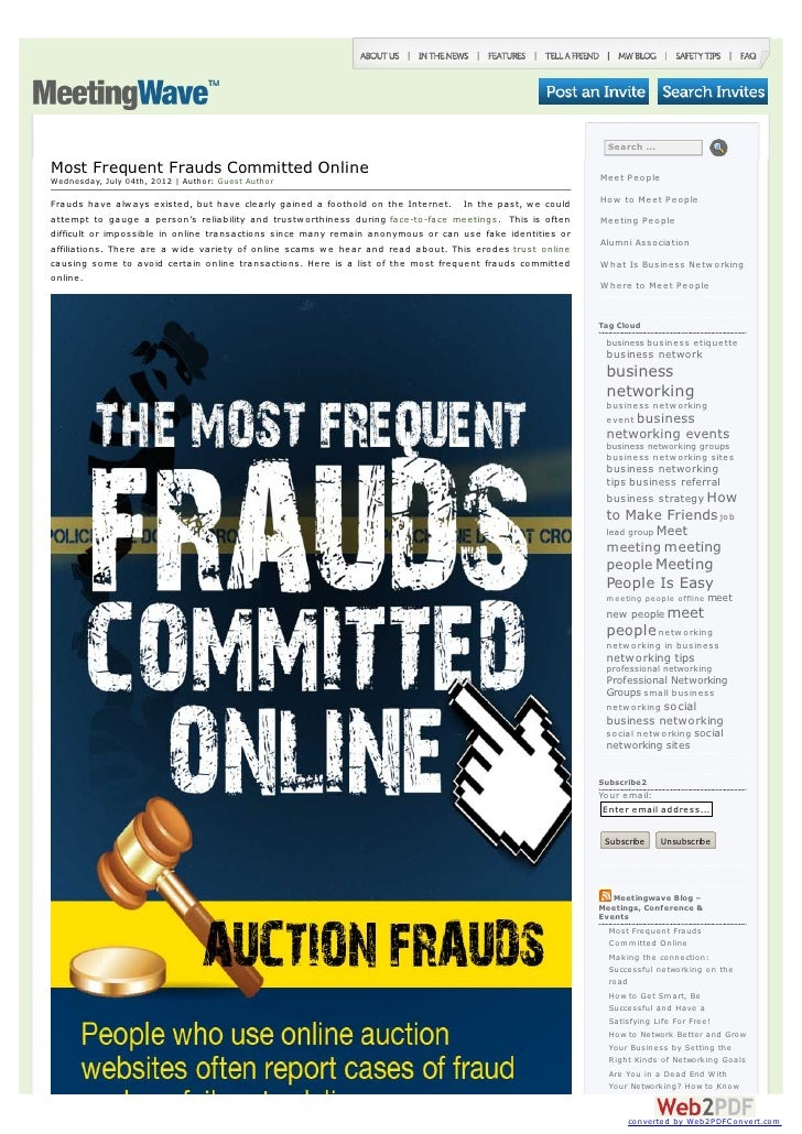 Search ...Most Frequent Frauds Committed Online                                                                       Meet...