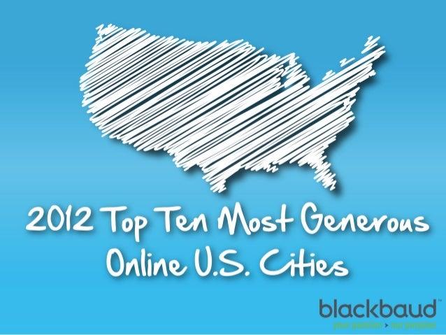 2012 Top Ten Most Generous Online U.S. Cities