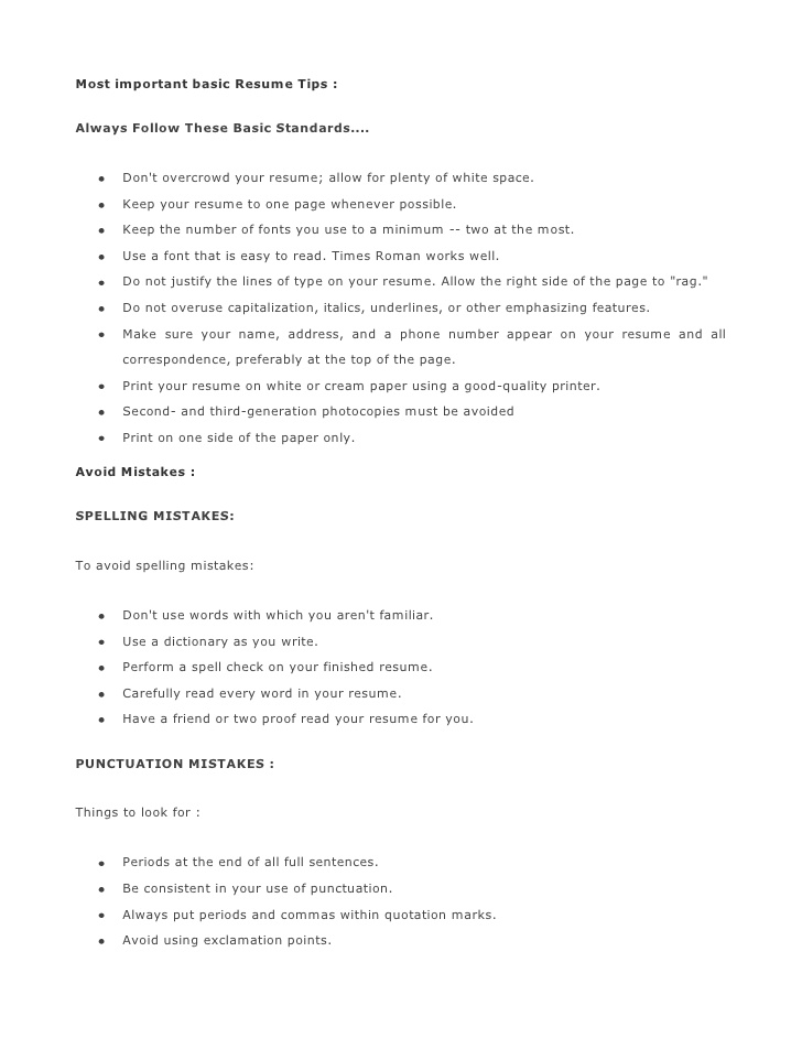 most important basic resume tips 1