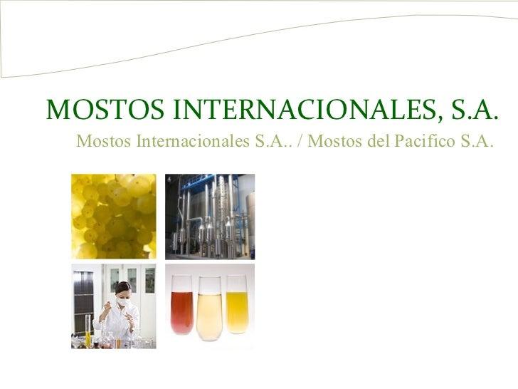 MOSTOS INTERNACIONALES, S.A. Mostos Internacionales S.A.. / Mostos del Pacifico S.A.
