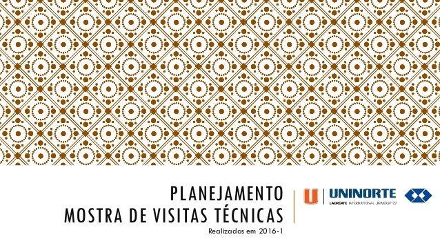 PLANEJAMENTO MOSTRA DE VISITAS TÉCNICASRealizadas em 2016-1