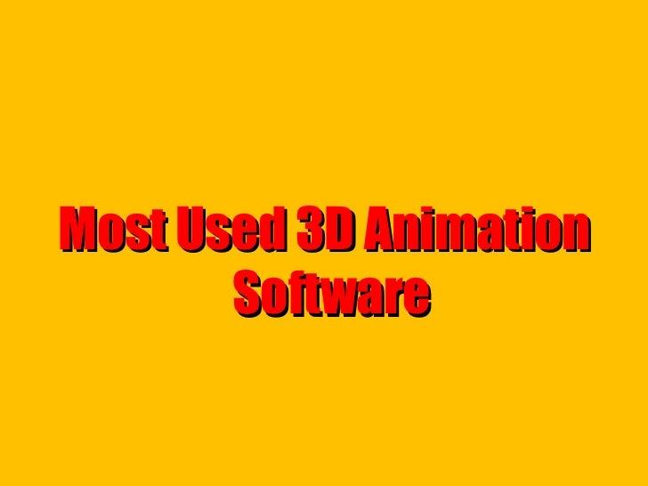 <ul><li>Most Used 3D Animation Software  </li></ul>