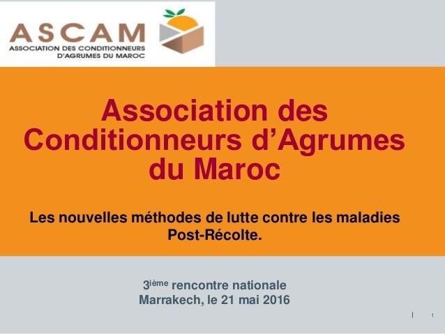 Association des Conditionneurs d'Agrumes du Maroc 1 3ième rencontre nationale Marrakech, le 21 mai 2016 Les nouvelles méth...