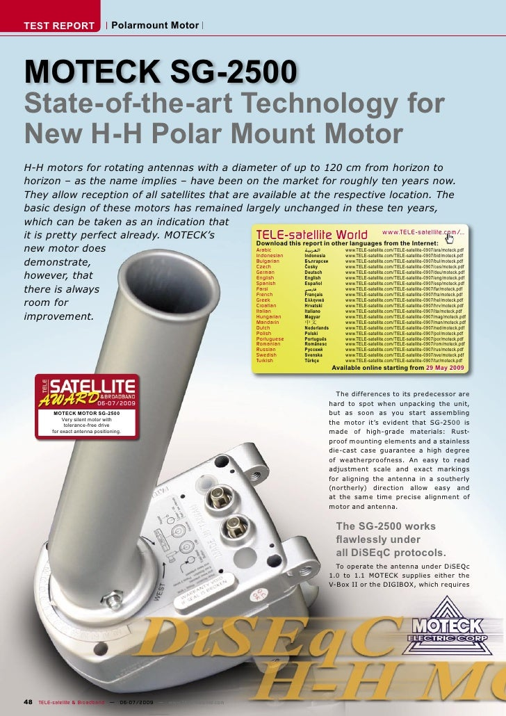 TEST REPORT                       Polarmount Motor     MOTECK SG-2500 State-of-the-art Technology for New H-H Polar Mount ...