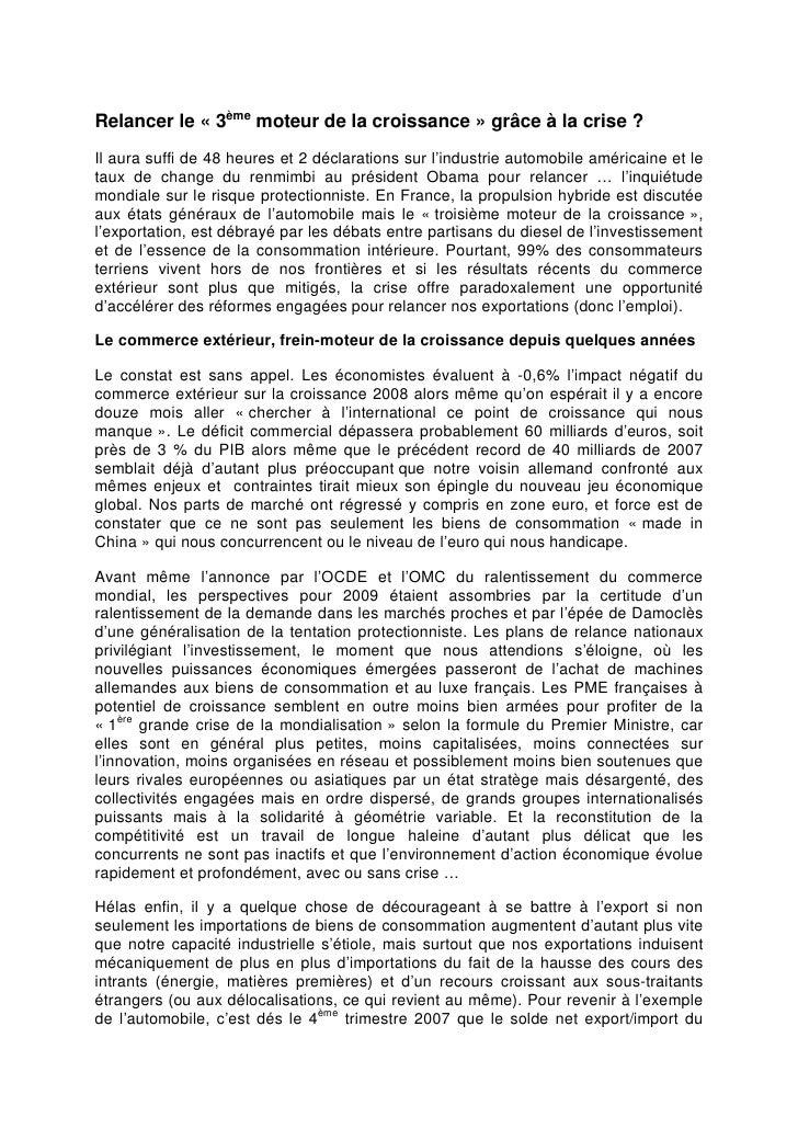Moteurs de La Croissance Fief Paris 2009
