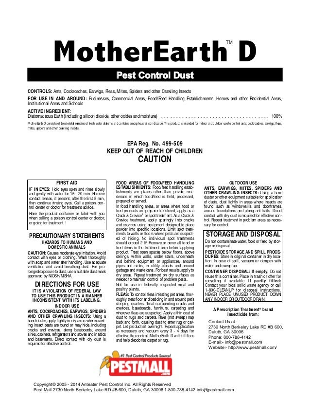 Mother Earth Dust Bed Bugs Powder