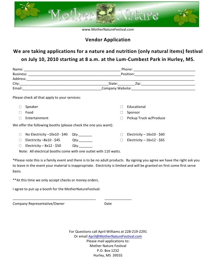 76200-40005000<br />www.MotherNatureFestival.com<br />Vendor Application<br />We are taking applications for a nature and ...
