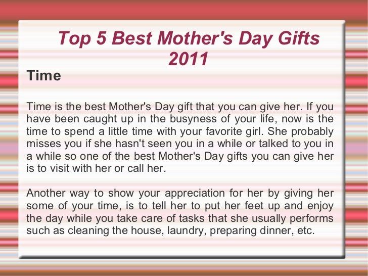 Best Mothers Day Gifts 2011 Top 5 Best Mother 39 s Day Gifts