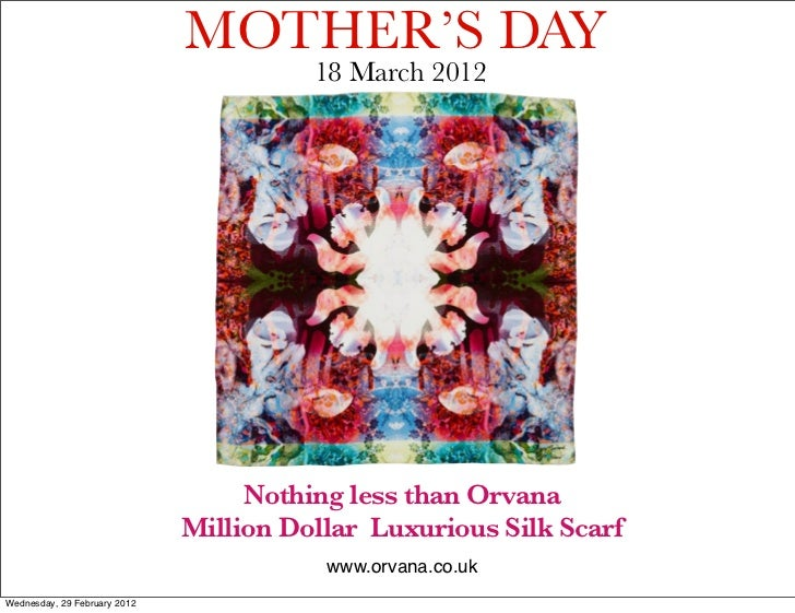 MOTHER'S DAY                                        18 March 2012                                   Nothing less than Orva...