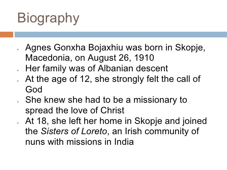 the biography of agnes gonxha bojaxhiu