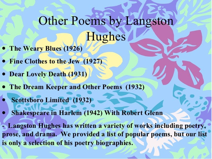 "essays on mother to son by langston hughes Published in 1922, ""mother to son"" was one of langston hughes's earliest poems its simple language and powerful message make it both accessible and meaningful for middle grade students."