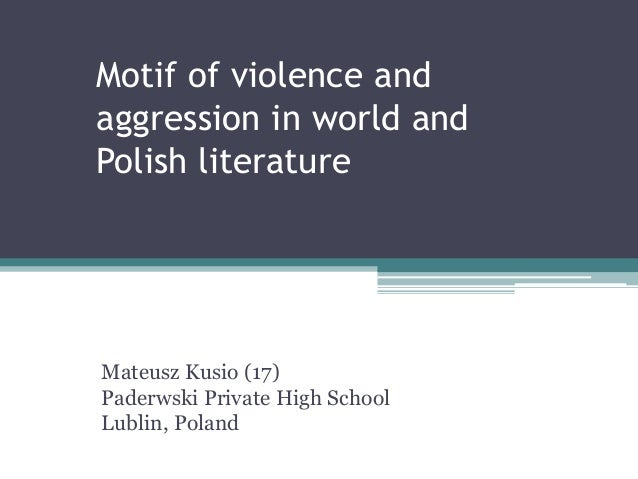 Motif of violence and aggression in world and Polish literature Mateusz Kusio (17) Paderwski Private High School Lublin, P...