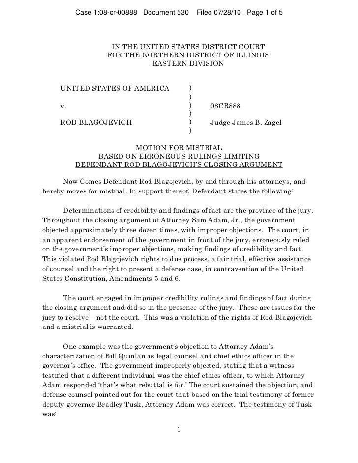 Case 1:08-cr-00888 Document 530          Filed 07/28/10 Page 1 of 5                     IN THE UNITED STATES DISTRICT COUR...