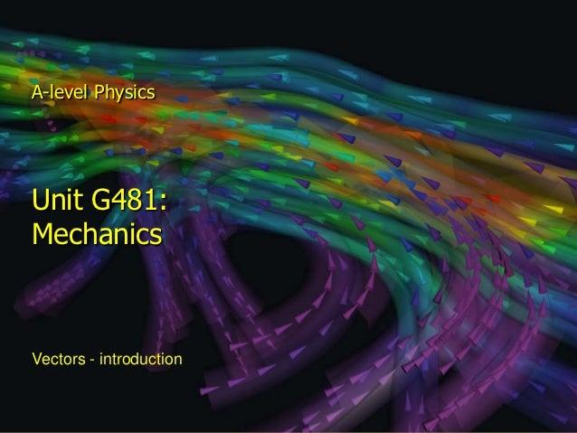 A-level Physics  Unit G481:  Mechanics  Vectors - introductionModule 1:   Motion