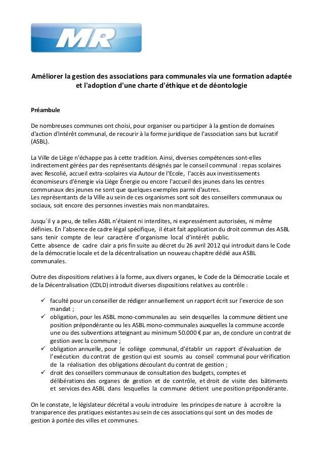 Motion au Conseil communal : améliorer la gestion des associations para communales via une formation adaptée et l'adoption d'une charte d'éthique et de déontologie