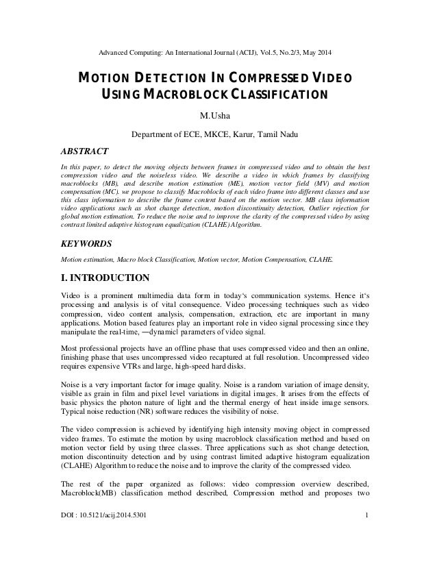 Motion detection in compressed video using macroblock classification