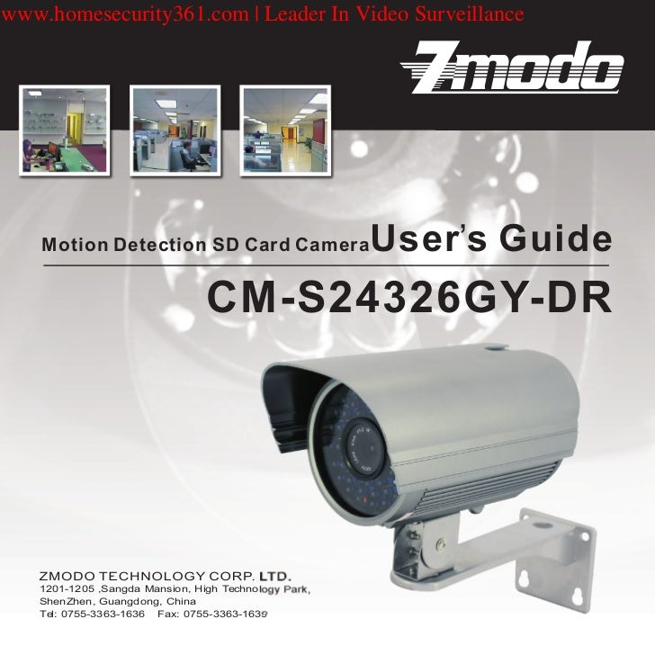 www.homesecurity361.com   Leader In Video Surveillance    Motion Detection SD Card Camera                   User's Guide  ...