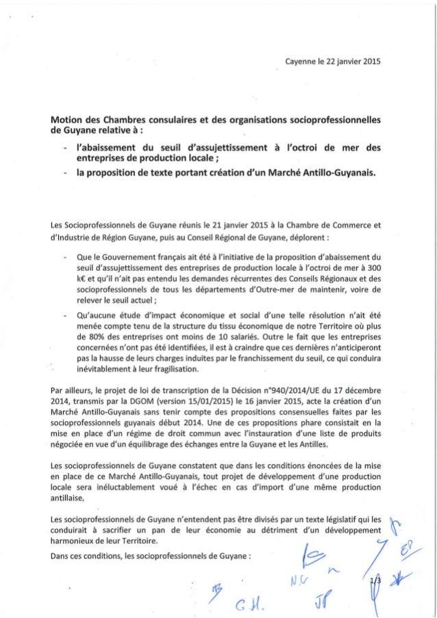 Motion pour l'équilibre du marché guyanais (22.01.15)